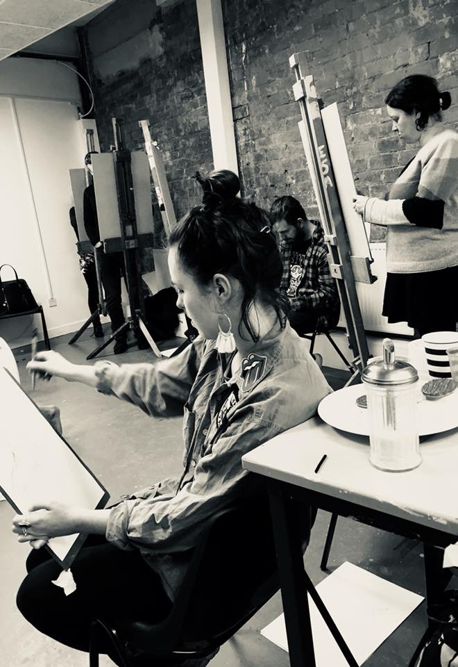 Students taking part in previous life drawing classes by Tessa Houghton